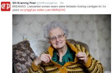 Welsh local newspaper reports breaking news of woman wearing same cardigan for 54 years