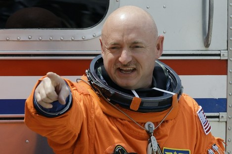 Commander Mark Kelly - the husband of Gabrielle Giffords - poses before last Friday's aborted launch of the Endeavour space shuttle.