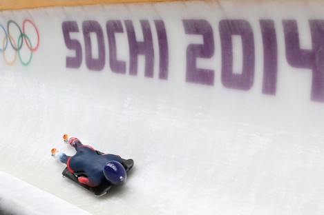 Great Britain's Shelley Rudman in her first practice run at the Sanki Sliding Centre