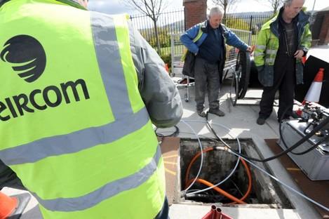 Eircom engineers installing fibre broadband in Knocklyon, South Dublin.