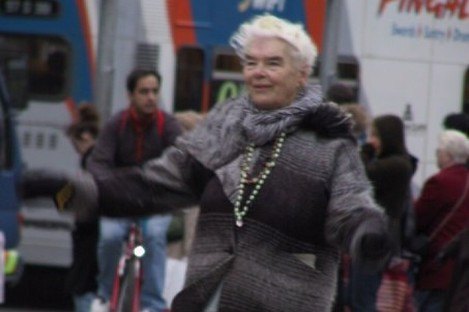 Mary Dunne dancing on O'Connell Street.