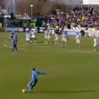 Former Liverpool defender Stephen Warnock scores a freaky 40-yard free