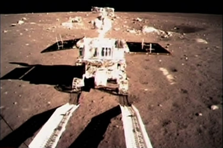 File photo taken in December of the Jade Rabbit on the surface of the moon.