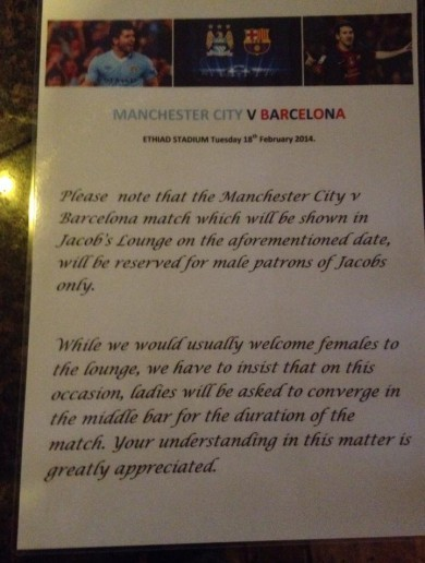 'Women banned from watching match' sign a joke, says pub
