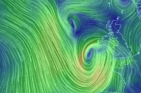 The current wind picture off Ireland.