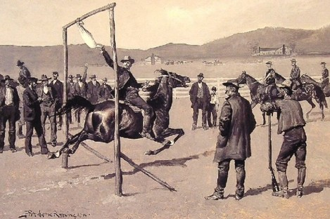 """""""A Gander Pull"""" by Frederic Remington"""