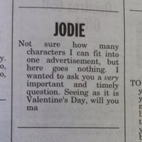 This Valentine's classified ad is quite possibly the best ever