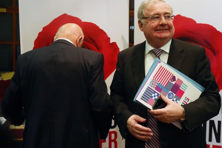 Ruairí Quinn (with his back turned) and Pat Rabbitte at the Labour conference in Enfield today