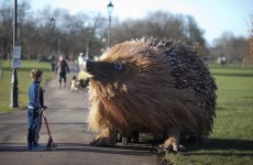 This mysterious giant hedgehog took over a London park this morning
