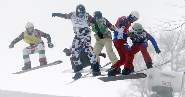 GIF: Snowboard cross race ends in dramatic crash at photo finish