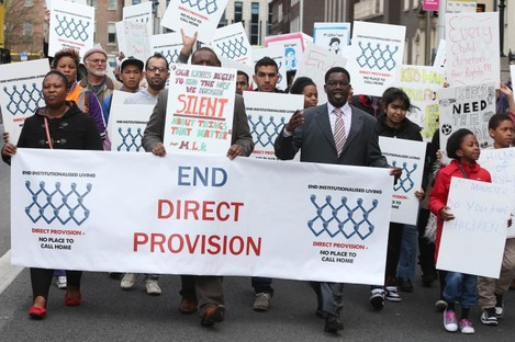 Asylum seekers at a protest last year