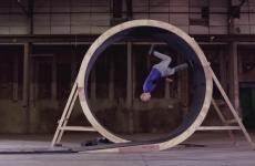 Running stuntman does incredible human loop-the-loop