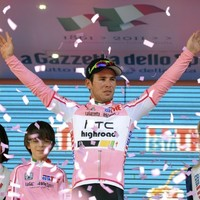 In the saddle: Cavendish pretty in pink after Giro's second day