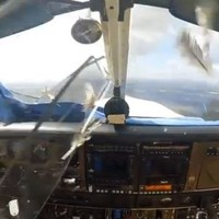 This is what happens when a bird strikes a plane's windscreen