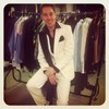 Ryan Tubridy dressed as Johnny Logan in the white Eurovision suit