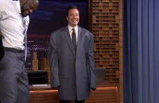Jimmy Fallon looks like a child in Shaq's coat