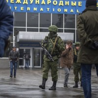 Armed men are patrolling one of Ukraine's main airports