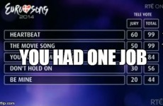 A 'graphic error' caused comical confusion about the Eurosong results last night