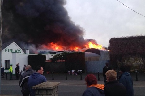 The scene of the fire this evening