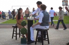 Cringey prank surprises passing pedestrians with an instant hot date