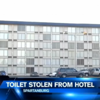 Someone stole an entire toilet from a hotel room without being noticed