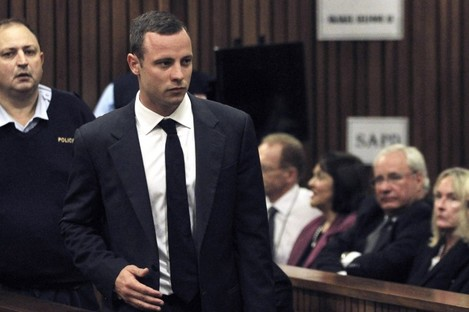 Oscar Pistorius on the first day of his trial on Monday