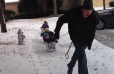 Greatest dad ever takes kids on washing basket sleigh ride