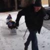 Greatest dad ever takes kids on washing basket sleigh ride