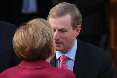Enda Kenny greets Angela Merkel in Dublin this week.