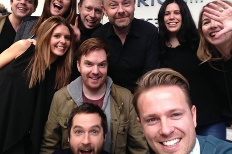 Byrne (front, right) with his 2fm colleagues.