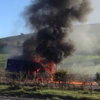 Security van bursts into flames in Wicklow