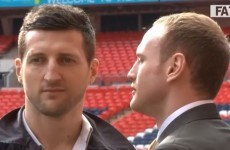 VIDEO: Carl Froch shoves George Groves at Wembley
