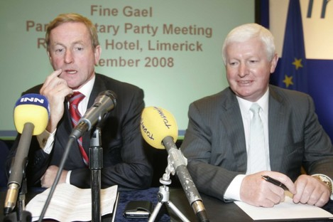 Enda Kenny and Frank Flannery at a Fine Gael parliamentary party meeting in 2008.