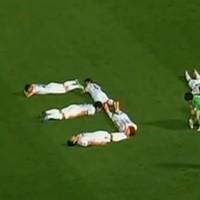 Japanese team's goal celebration remembers tsunami anniversary