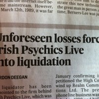 This headline about the end of Irish Psychics Live is perfect