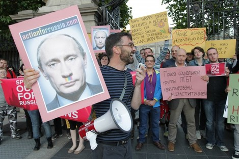 'Action for Russia' protest against anti-gay laws.
