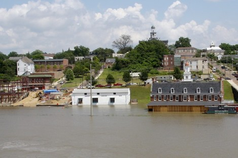 Mississippi flood waters creep up the flood walls of downtown Vicksburg, Mississippi on Friday.