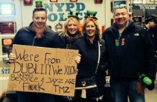 Irish guy schools TMZ with excellent sign at the New York St Patrick's Day parade