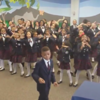 Kids choir makes Happy sound even more joyful