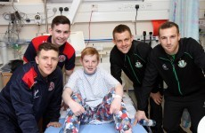 Football rivalry on hold as Rovers and Bohs players drop by Temple St Children's Hospital