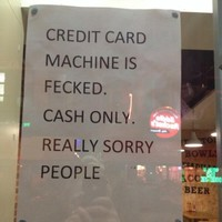 Restaurant makes sincerely Irish apology about broken credit card machine