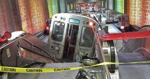 Over 30 injured as Chicago train derails and travels up airport escalator