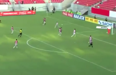 Brazilian player fails at first to score own goal... tries again a second time...and succeeds