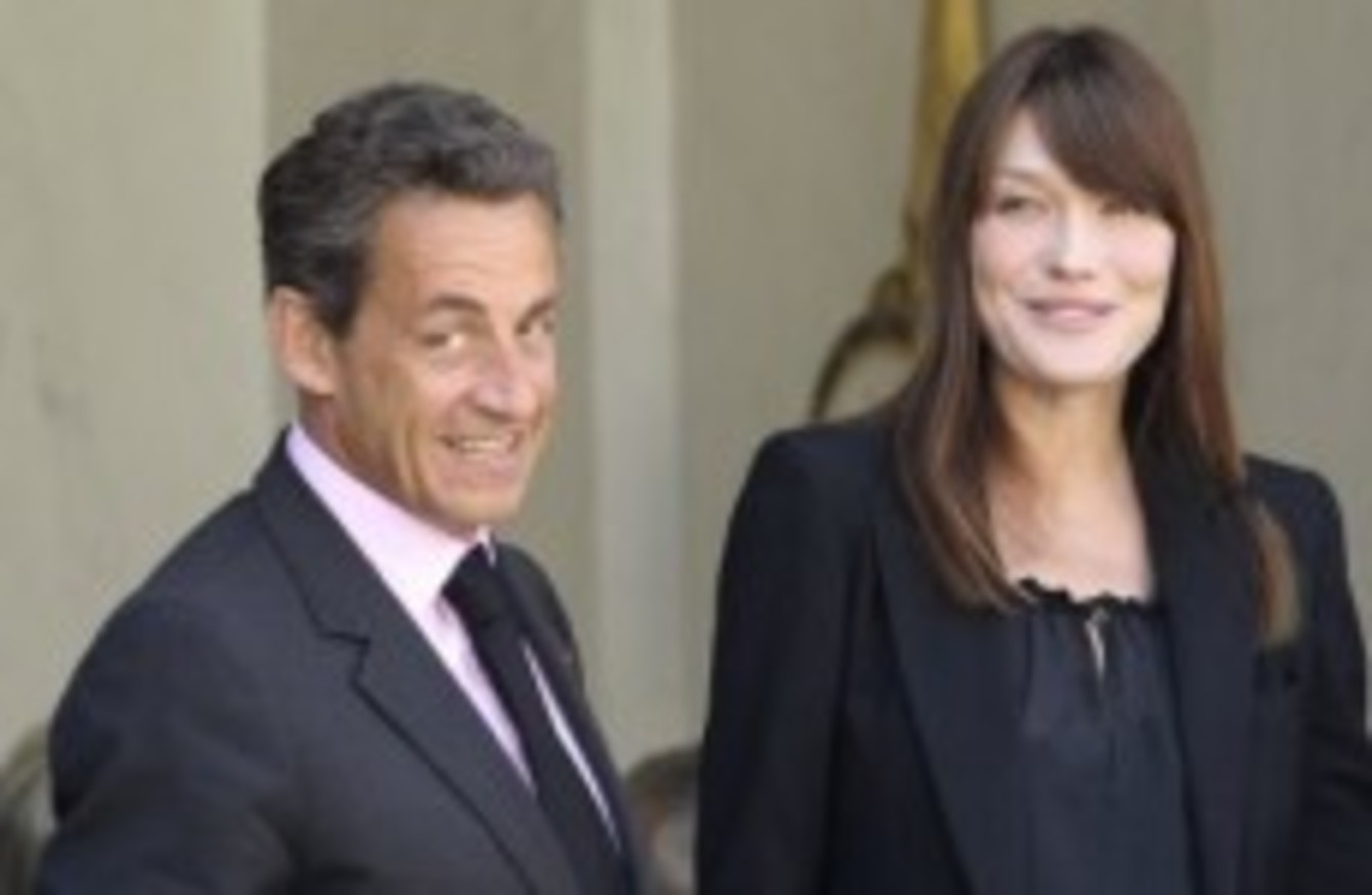 France s President Nicolas Sarkozy, and his wife Carla Bruni-Sarkozy,  right, at the Elysee Palace in Paris, Friday, May 13 512ea260d523