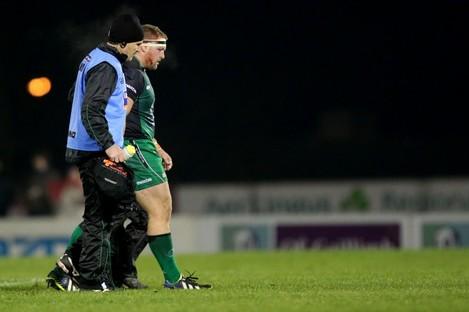 Brett Wilkinson leaves the field injured last November.