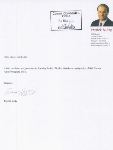 Here is Patrick Nulty's very short resignation letter