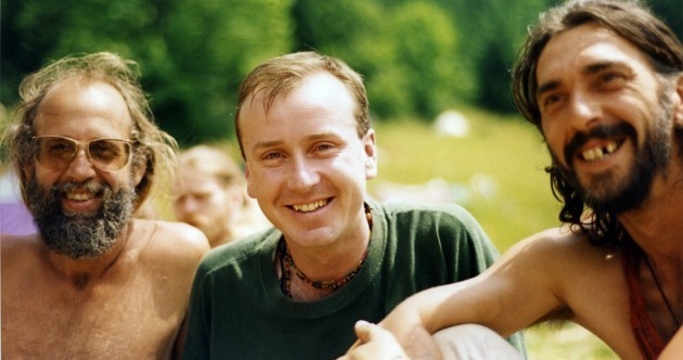 Recognise this dashing future senator with a gathering of hippies in the 1990s?