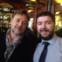 Russell Crowe squeezed in two pints during his quick stop in Dublin