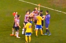 Referee sends off Sheffield United player, awards penalty... then changes his mind