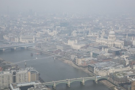 General view of smog over the London cityscape